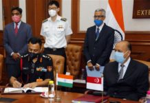 The Defence Secretary, Dr. Ajay Kumar witnessing the signing of Implementing Arrangement on Humanitarian Assistance & Disaster Relief (HADR) between India and Singapore, during the 14th India-Singapore Defence Policy Dialogue (DPD) via video conferencing, in New Delhi on August 28, 2020.