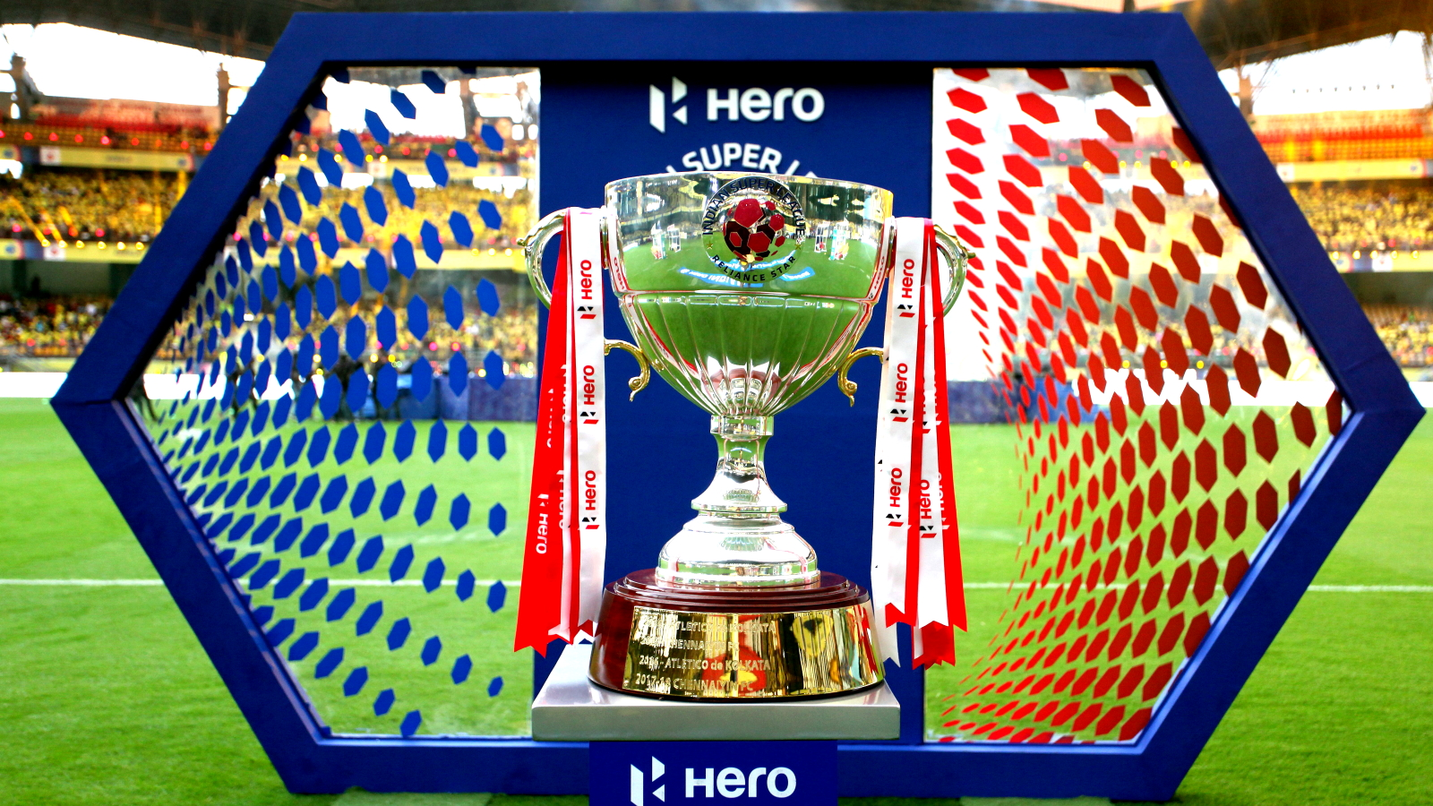The Hero ISL cup during the opening ceremony and first match of the Indian Super League ( ISL ) between the Kerala Blasters FC and ATK held at the Jawaharlal Nehru Stadium, Kochi, India on the 20th October 2019. Photo by: Vipin Pawar / SPORTZPICS for ISL