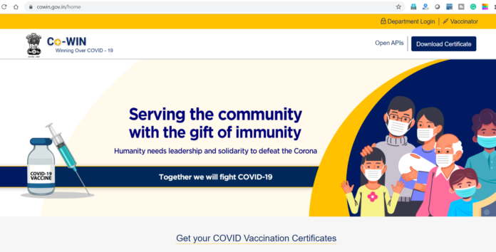 Registration site for C OVID 19 Vaccination