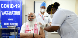 The Prime Minister, Shri Narendra Modi took his first dose of the COVID-19 vaccine, at AIIMS, New Delhi on March 01, 2021.