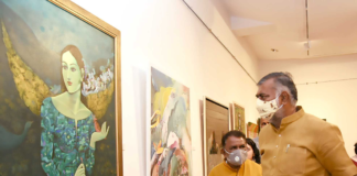 The Minister of State for Culture and Tourism (Independent Charge), Shri Prahlad Singh Patel visiting the 'Akshaya Patra & Karo Na Salaam' Exhibition of Artworks by Women Artists, on the occasion of the International Women's Day, in New Delhi on March 08, 2021.