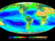 Composite image showing the global distribution of photosynthesis, including both oceanic phytoplankton and terrestrial vegetation. Dark red and blue-green indicate regions of high photosynthetic activity in the ocean and on land, respectively. By Wikipedia