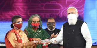The Prime Minister, Shri Narendra Modi at the National Day programme of Bangladesh, in Dhaka, Bangladesh on March 26, 2021. The Prime Minister of Bangladesh, Ms. Sheikh Hasina is also seen.