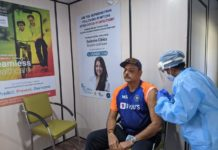 Indian cricket team coach Ravi Shastri got the first shot of COVID-19 vaccine