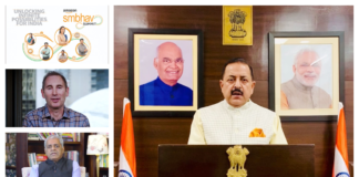 """The Minister of State for Development of North Eastern Region (I/C), Prime Minister's Office, Personnel, Public Grievances & Pensions, Atomic Energy and Space, Dr. Jitendra Singh addressing the """"Amazon Sambhav online Summit"""", on the theme """"Unlocking Infinite Possibility for India"""", in New Delhi on April 16, 2021."""