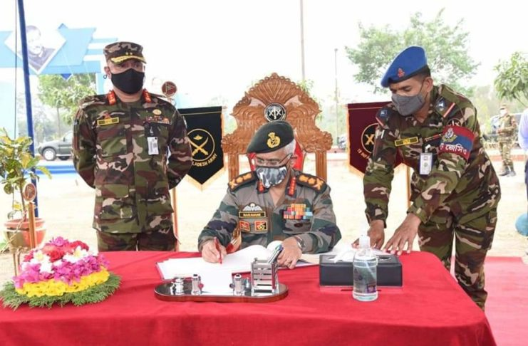 General M.M. Naravane, Indian Army Chief and General Aziz Ahmed, Bangladesh Army Chief had meeting at Bangabandhu Senanibash