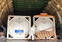 Oxygen containers weighing 8.2 MT each arrived at Kolkata Airport in Volga Dnepr AN124 aircraft.