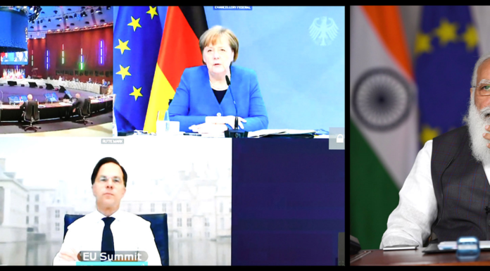 The Prime Minister, Shri Narendra Modi participates in the India-EU Leaders' Meeting through video conferencing, in New Delhi on May 08, 2021.
