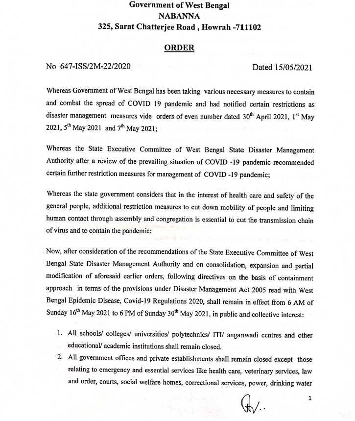 WB Government Order Page 1