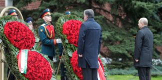 Wreath-laying ceremony at Tomb of Unknown Soldier. With President of Tajikistan Emomali Rahmon.