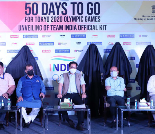 The Minister of State for Youth Affairs & Sports, AYUSH (Independent Charge) and Minority Affairs, Shri Kiren Rijiju at the unveiling ceremony of the Team India Official Olympic Kit, on the occasion of 50 Days Countdown to Tokyo Olympics, on the occasion of 50 Days Countdown to Tokyo Olympics, in New Delhi on June 03, 2021.