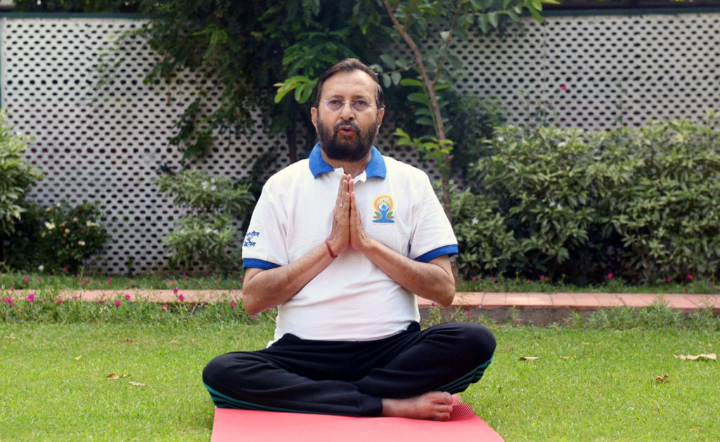 The Union Minister for Environment, Forest & Climate Change, Information & Broadcasting and Heavy Industries and Public Enterprise, Shri Prakash Javadekar performing Yoga, on the occasion of the 7th International Day of Yoga 2021, at Red Fort, Delhi on June 21, 2021.