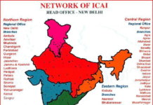 Map of India showing the jurisdictions of the five Regional Councils of ICAI
