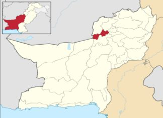 Map of Balochistan with Quetta District highlighted
