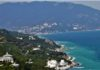 The Crimean Mountains in the background and Yalta as seen from the Tsar's Path.