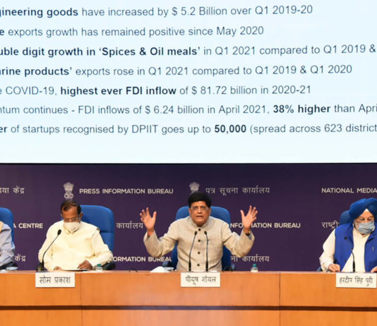 The Union Minister for Railways, Commerce & Industry and Consumer Affairs, Food & Public Distribution, Shri Piyush Goyal addressing a press conference on initiatives pertaining to the Ministry of Commerce and Industry, in New Delhi on July 02, 2021. The Minister of State for Housing & Urban Affairs, Civil Aviation (Independent Charge) and Commerce & Industry, Shri Hardeep Singh Puri, the Minister of State for Commerce and Industry, Shri Som Parkash and other dignitaries are also seen.