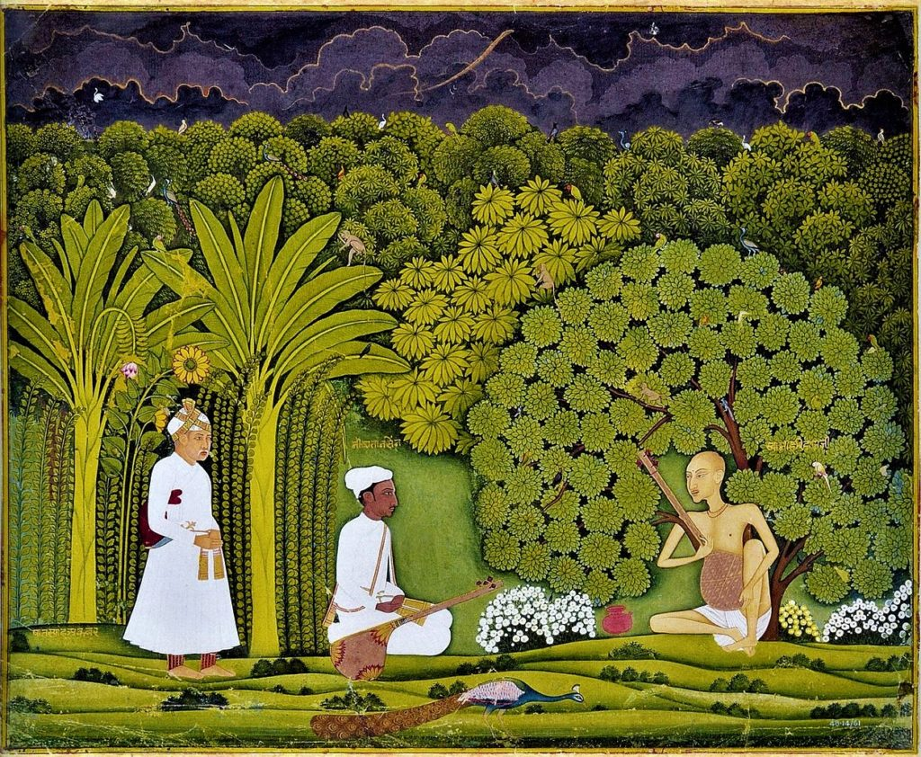 Akbar and Tansen visit Swami Haridas in Vrindavan. Swami Haridas is to the right, playing the lute; Akbar is to the left, dressed as a common man; Tansen is in the middle, listening to Haridas. Jaipur-Kishangarh mixed style, ca. 1750